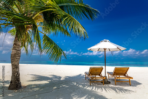 Tuinposter Palm boom Luxury summer beach view. Chaise lounge concept with two beach chairs and umbrella on white sand with palm tree. Perfect beach landscape for vacation or holiday template.