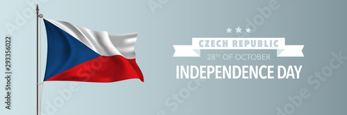 Czech Republic happy independence day greeting card, banner vector illustration Fototapet