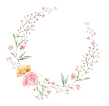 Wreath Flowers Of Pink Color And Sprigs Of Eucalyptus.