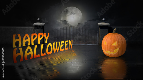 Halloween Background with Pumpkins and Moon - 293360075