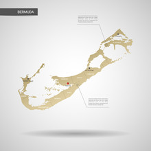 Stylized Vector Bermuda Map.  Infographic 3d Gold Map Illustration With Cities, Borders, Capital, Administrative Divisions And Pointer Marks, Shadow; Gradient Background.