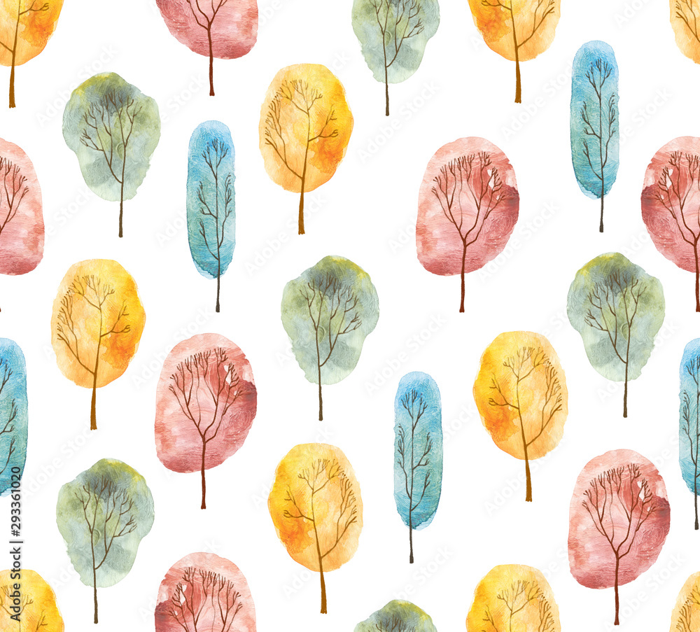 Fototapeta Seamless pattern with hand painted watercolor trees. Autumn colors. Isolated on white background.
