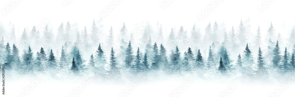 Fototapeta Seamless pattern with foggy spruce forest. Fir trees isolated on white background.