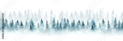 Seamless pattern with foggy spruce forest. Fir trees isolated on white background. - 293361028