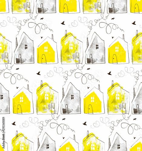 wzor-z-recznie-rysowane-domow