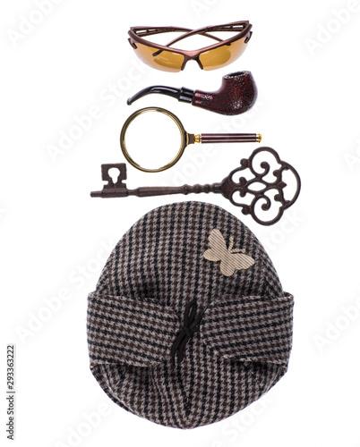Fotografía cap of the famous detective Sherlock Holmes,Investigation concept