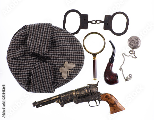 Photo cap of the famous detective Sherlock Holmes,Investigation concept