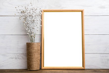 Mockup Of Blank Brown Frame Poster On Wall With Linen