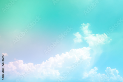 Poster Turquoise abstract sky color full, clouds with background