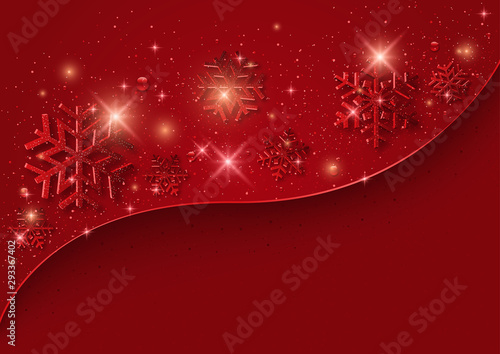 Red Christmas Background with Snowflakes and Glitters - Graphic Design for Merry Christmas Greetings and etc Wallpaper Mural