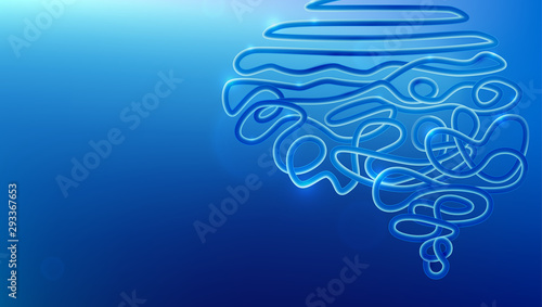 Fototapeta Tangled wire in human brain shape vector illustration