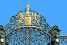 Gate And Fence With Lions Agai...