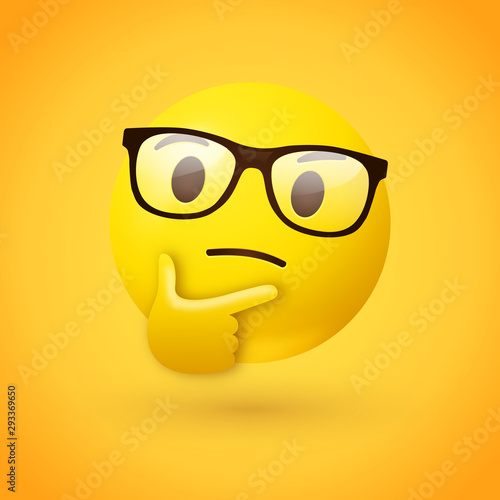Obraz Clever or nerdy thinking face emoji - emoticon face wearing glasses shown with a single finger and thumb resting on the chin glancing upward on yellow background - fototapety do salonu