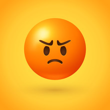 Angry Emoji With Red Face, Frowning Mouth, Eyes And Eyebrows Scrunched In Anger  - Conveys Varying Degrees Of Anger, From Grumpiness And Irritation To Disgust And Outrage