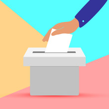 Flat Hand Putting Vote Bulletin Into Ballot Box Icon. Election Concept On Pink Blue Colored Pastel Background
