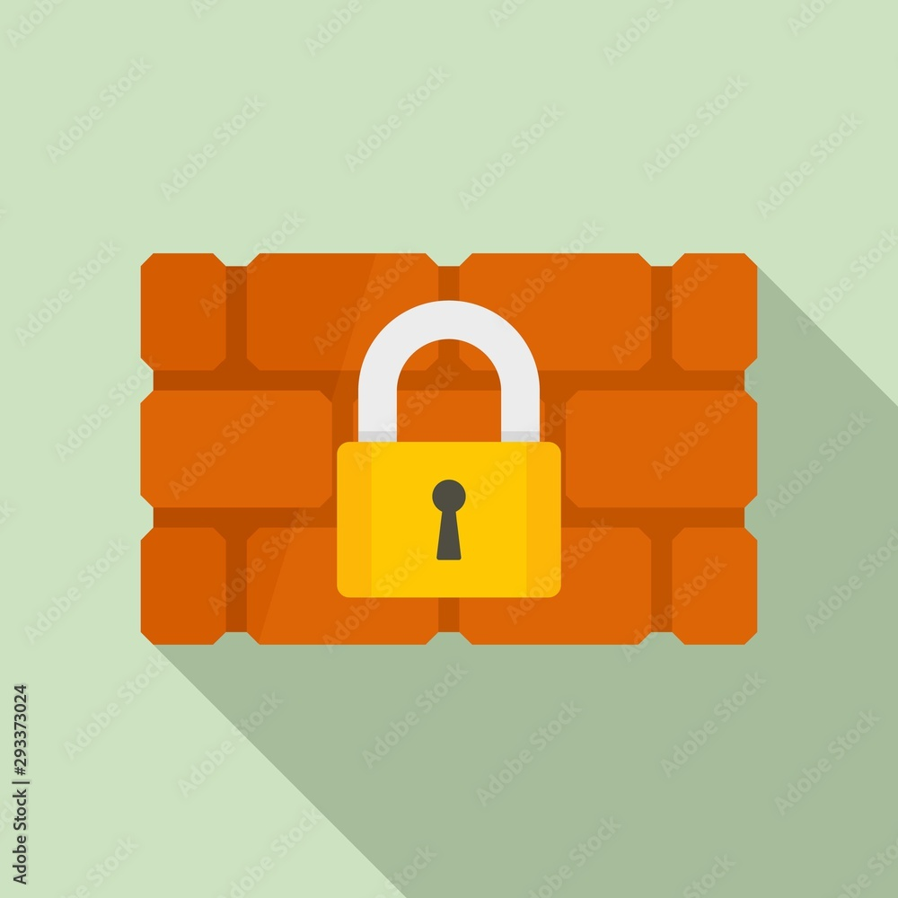 Fototapeta Firewall padlock icon. Flat illustration of firewall padlock vector icon for web design