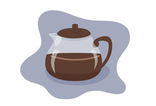 Coffee Pot Flat Vector Illustr...