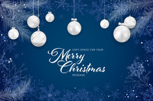 Christmas Card With Christmas Balls On Blue Background