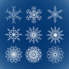 Set Of Vector Snowflakes On Bl...