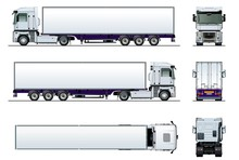 Vector Cargo Semi Truck Mockup Isolated On White