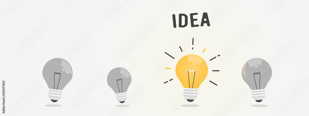 Fototapeta Abstract vector flat design lightbulb idea icon
