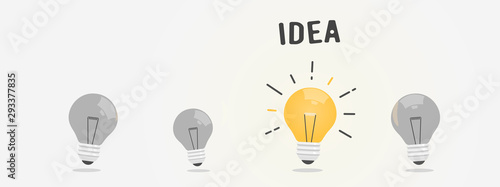 Obraz Abstract vector flat design lightbulb idea icon - fototapety do salonu
