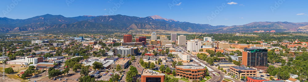 Fototapety, obrazy: Huge Panorama of Downtown Colorado Springs