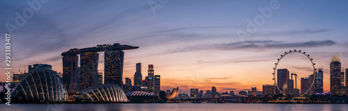 Photo Wide panorama of Singapore cityscape