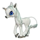 3D Rendering Fairy Tale Little White Unicorn on White