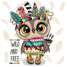 Cartoon Tribal Owl With Feathers On A White Background