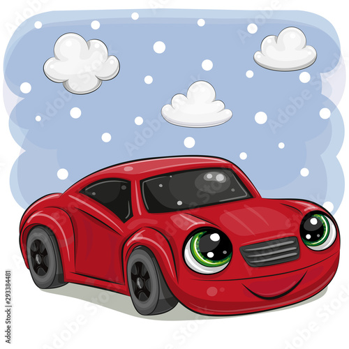 Red car with eyes on on a sky background