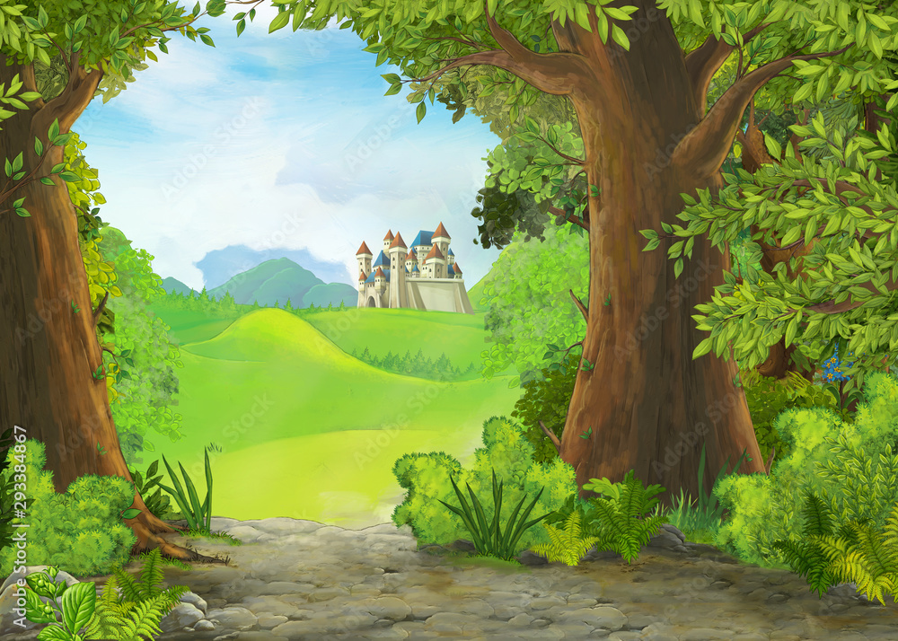 Fototapeta Cartoon nature scene with beautiful castle - illustration for the children