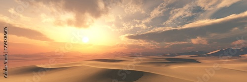 Fototapeta Sand desert at sunset under the sky with clouds. obraz