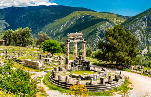 Temple of Athena Pronaia at Delphi in Greece