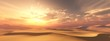 canvas print picture - Sand desert at sunset under the sky with clouds.