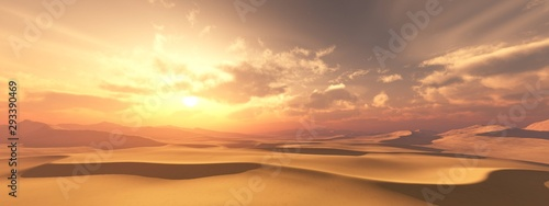 Fototapeta Sand desert at sunset under the sky with clouds. obraz