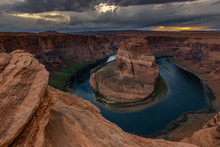 Horseshoe Bend At Sunset, Meander Of Colorado River In Page, Arizona, USA