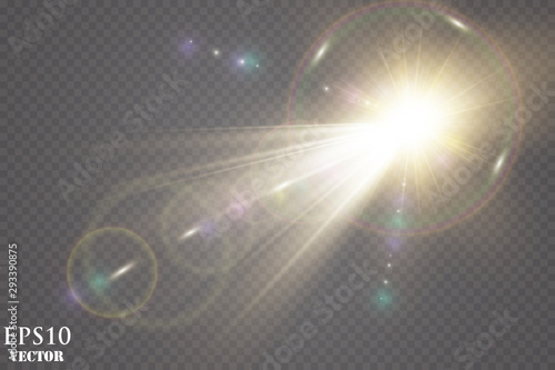 Sunlight on a transparent background. Glow light effects.Star flashed sequins. Sun glare on transparent background. the lens sparkles.Vector transparent sunlight special lens flare light effect.