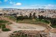 The Oval Forum and Cardo Maximus in ancient Jerash, Gerasa Governorate, Jordan