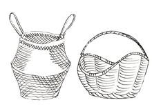 2 Wicker Old Baskets In White ...