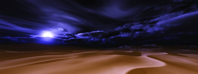Desert at night under the moon. Desert night landscape with the moon and clouds. .