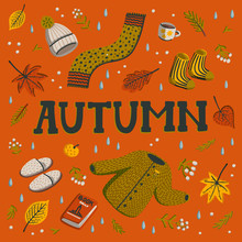 Hello Autumn. Collection Of Fall Season Elements. Autumn Greeting Card With Cozy Home Items For Autumn Season. Flat Style Hand Drawn Vector Illustration