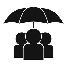 People Under Umbrella Icon. Si...