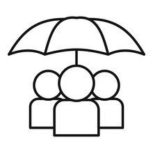 People Under Umbrella Icon. Outline People Under Umbrella Vector Icon For Web Design Isolated On White Background
