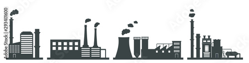 Fototapeta Factory icon set. Vector industrial buildings pictograms. Black silhouettes of manufacturing objects isolated on white. Set of four contours of plants for industrial design. obraz