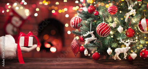 Poster Asia Country Santa Claus Gift. Christmas Holiday Background