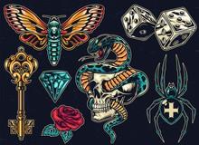 Vintage Colorful Tattoos Set
