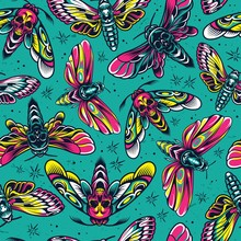 Vintage Colorful Insects Seaml...