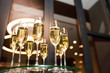 canvas print picture - Glasses of champagne. New year's celebration with champagne