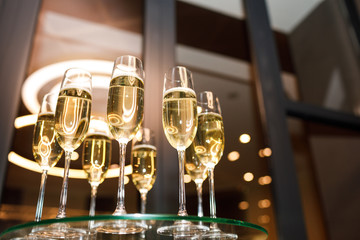 Glasses of champagne. New year's celebration with champagne